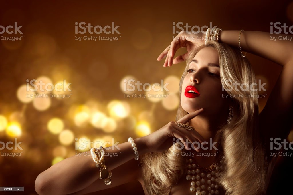 Fashion Model Beauty Jewelry Portrait, Elegant Woman Jewellery Hairstyle Makeup, Beautiful Girl Long Hair stock photo