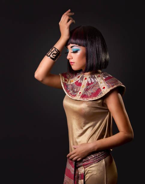 fashion model beauty portrait, schöne ägypterin frisur make-up - ägyptisches make up stock-fotos und bilder
