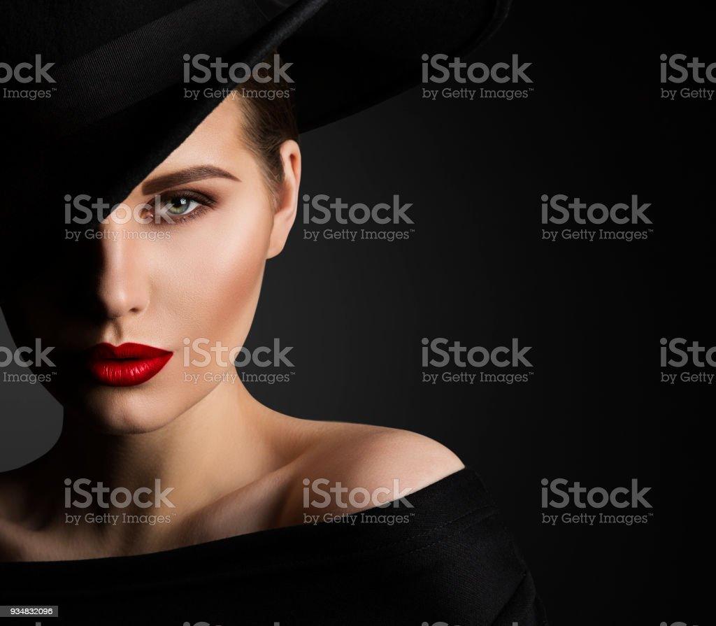 Fashion Model Beauty Portrait, Elegant Woman in Black Hat, Beautiful Lady Lips Eyes Make Up stock photo