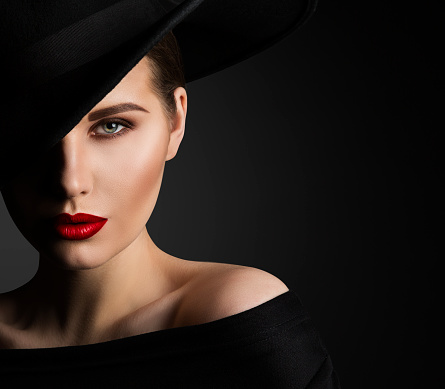 fashion model beauty portrait elegant woman in black hat