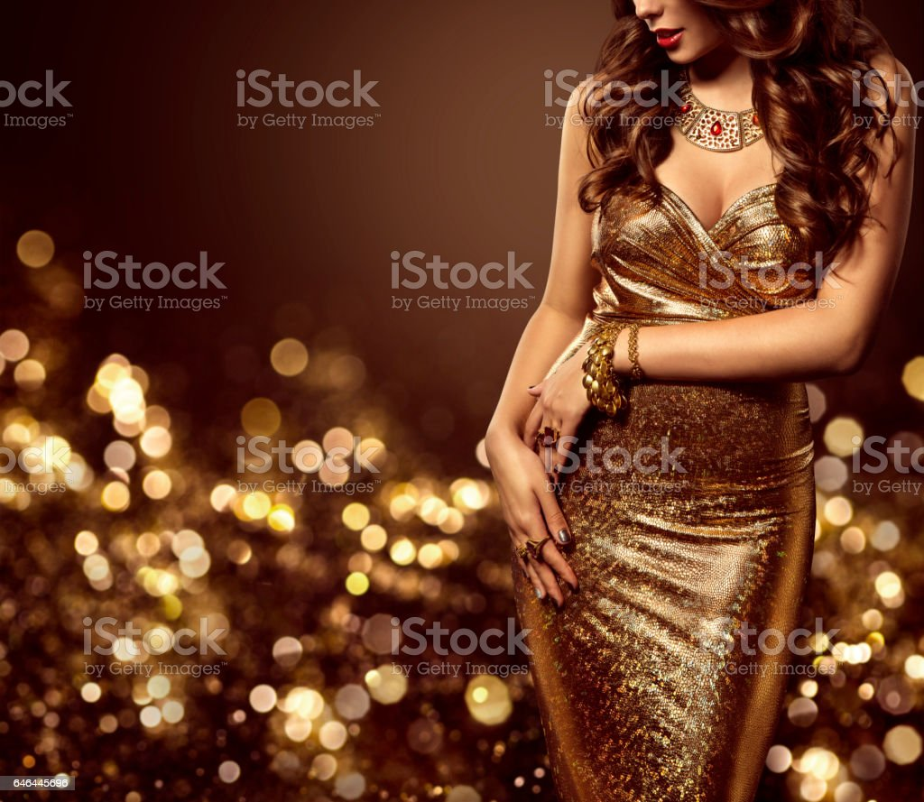 Fashion Model Body Gold Dress, Woman Elegant Golden Sexy Gown stock photo