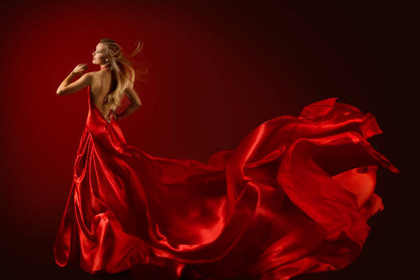 Fashion Model Dance in Red Dress, Happy Dancing Woman Flying Fluttering Fabric, Rear View Fashion Model Dance in Red Dress, Dancing Beautiful Woman, Flying Fluttering Fabric, Happy Girl Rear Back View prom night stock pictures, royalty-free photos & images