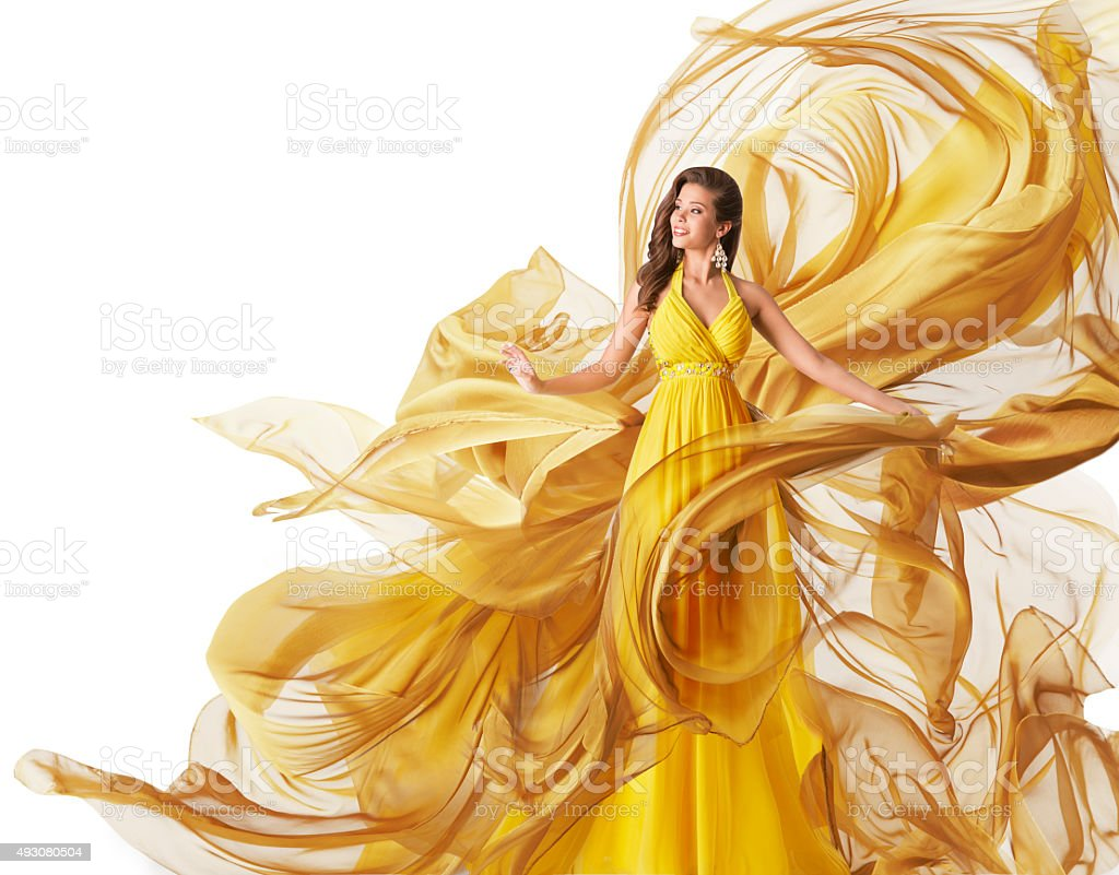 Fashion Model Dress, Woman Flowing Fabric Gown, Clothes Flow, White stock photo
