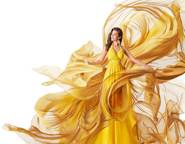 fashion model frau kleid, fließender stoff abendkleid, kleidung flow, weiß - lange abendkleider stock-fotos und bilder