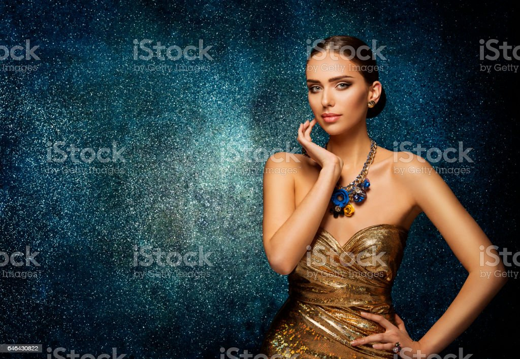 Fashion Model Face Portrait, Elegant Woman Necklace Jewelry, Young Lady stock photo