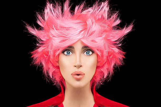 fashion model girl with trendy dyed pink hair - ausgefallene frisuren stock-fotos und bilder
