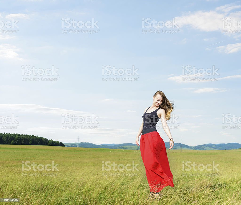 Fashion Model in a Rural Area royalty-free stock photo