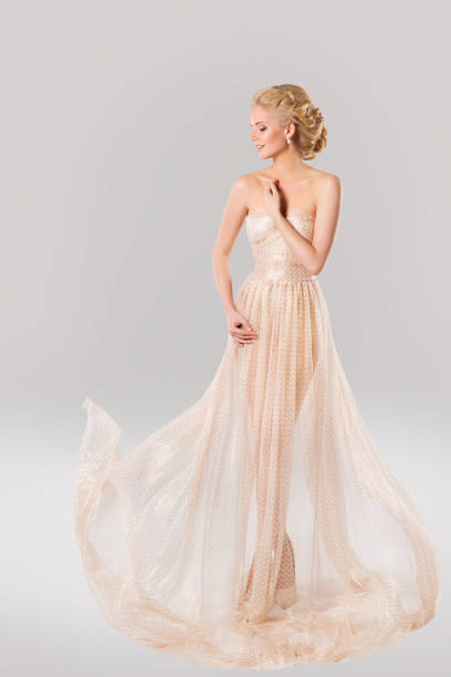 fashion model in beautiful dress and beauty hairstyle, woman long gown - prom fashion stock photos and pictures