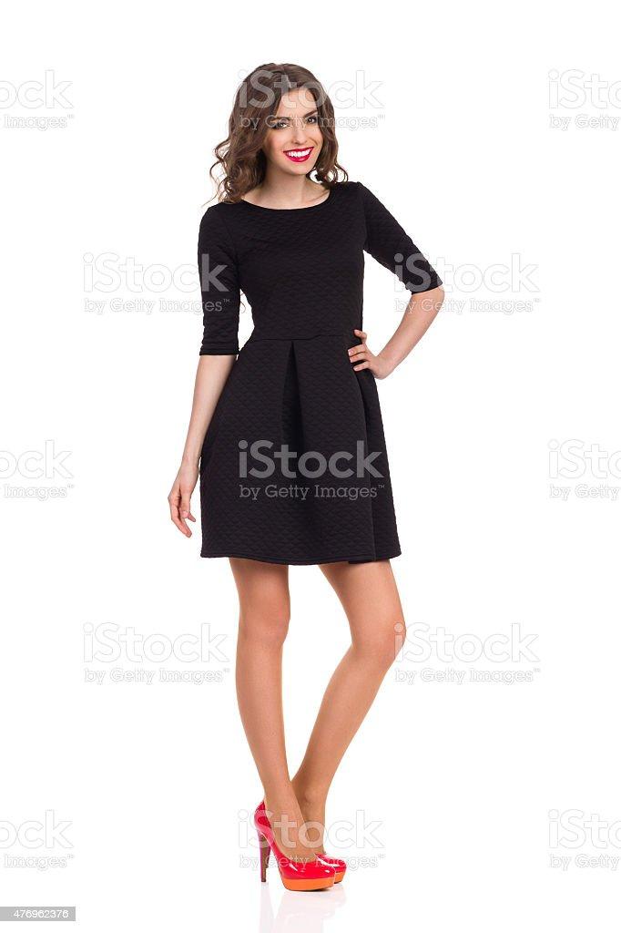 Fashion Model in Black Mini Dress stock photo