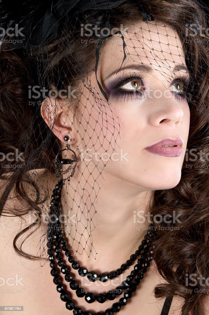 Fashion model in black net hairpiece. royalty-free stock photo