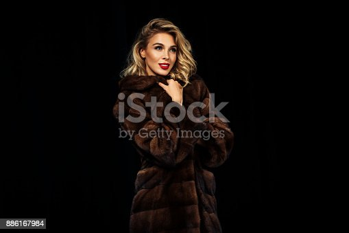 Fashion model in fur coat