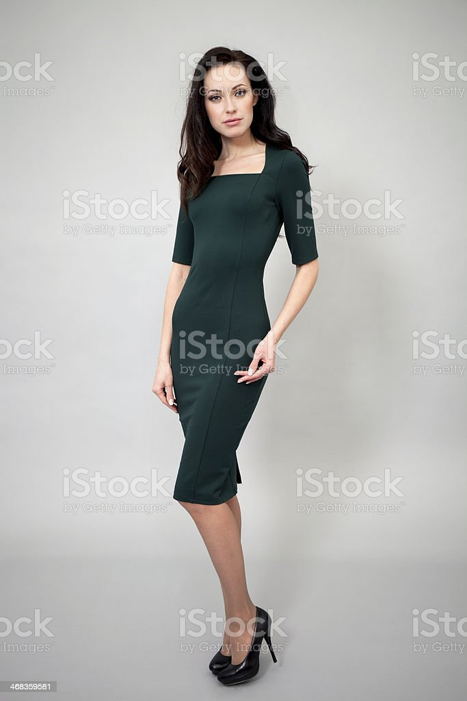 Fashion model in green dress royalty-free stock photo