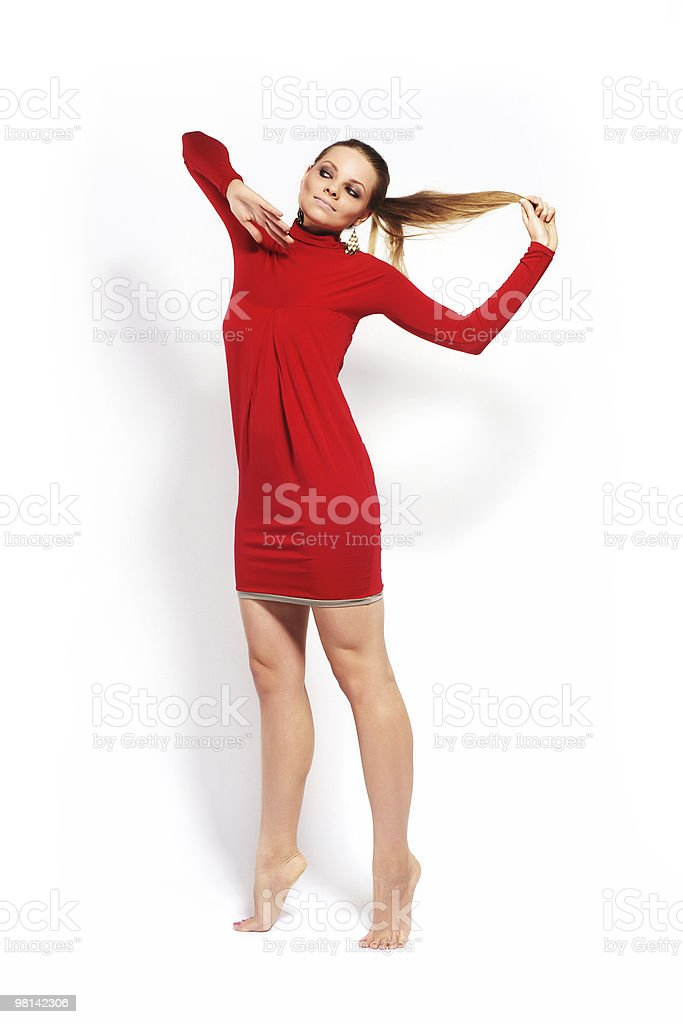 Fashion model in red dress royalty-free stock photo