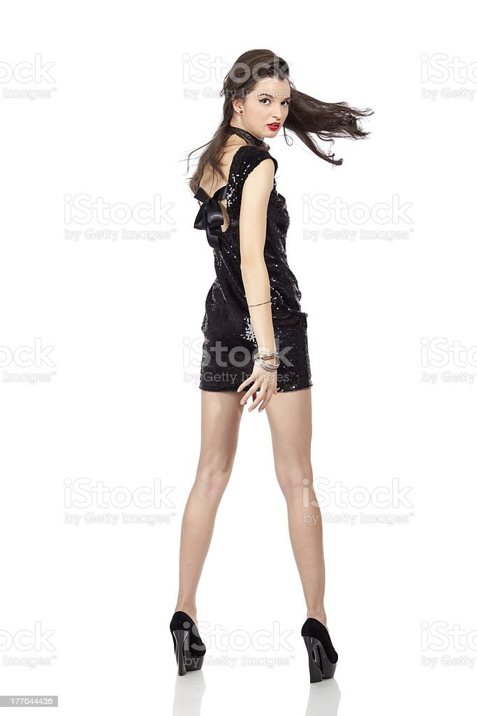Fashion model in sequin dress royalty-free stock photo