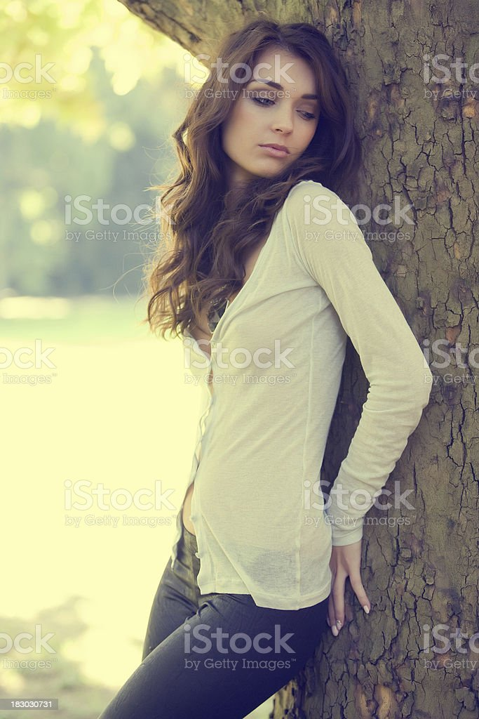 Fashion model in spring clothes - outdoor shot royalty-free stock photo