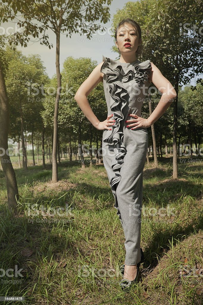 Fashion model in the nature royalty-free stock photo