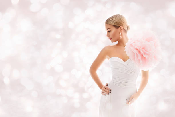 fashion model in white dress, elegant woman beauty gown artistic flower, beautiful lady portrait - prom fashion stock photos and pictures