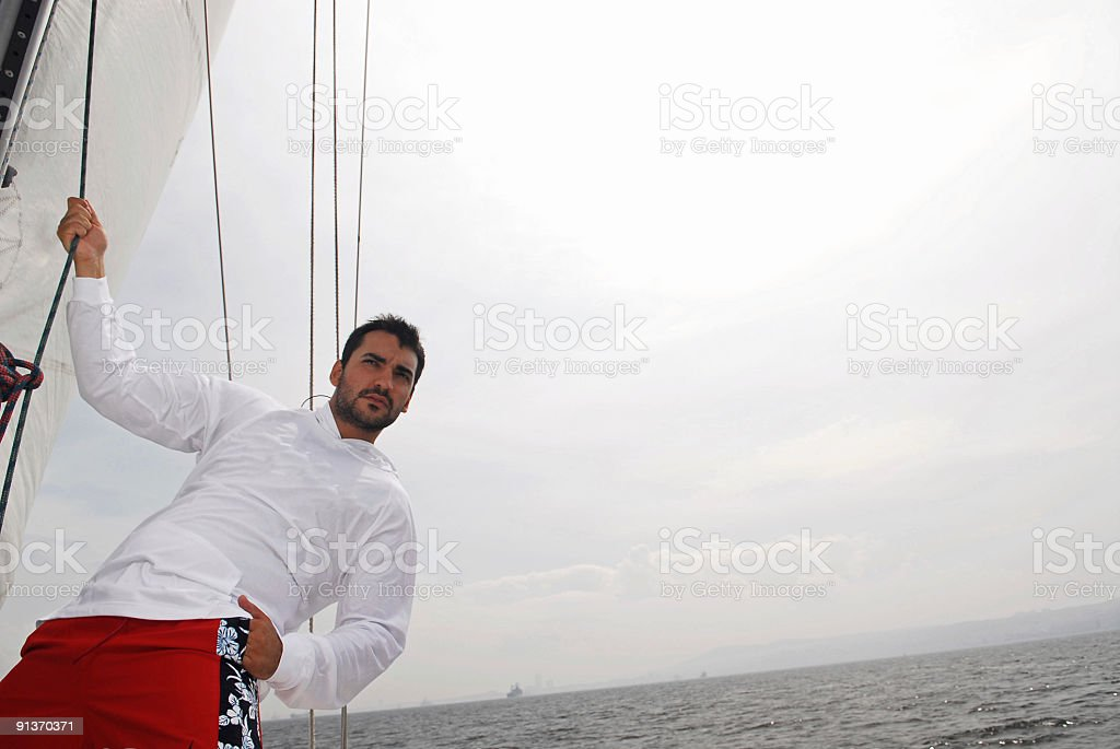 fashion model in yacht royalty-free stock photo