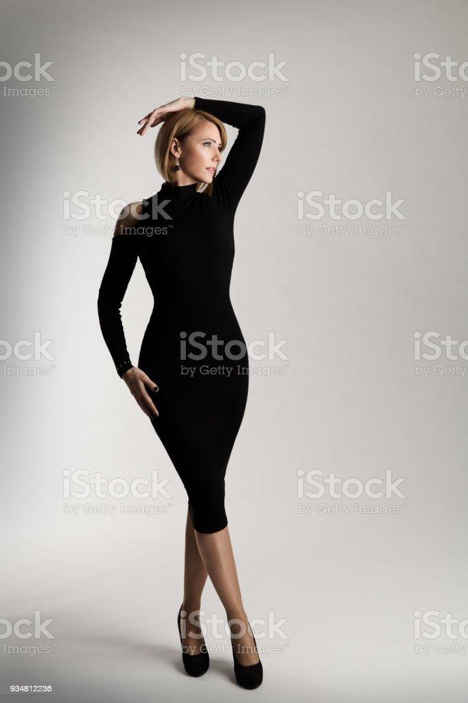Fashion Model Long Black Dress, Elegant Woman Beauty Portrait, Lady Studio shot stock photo