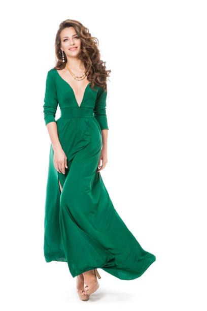 Fashion Model Long Dress, Beautiful Woman in Long Gown, Full Length Portrait on White stock photo