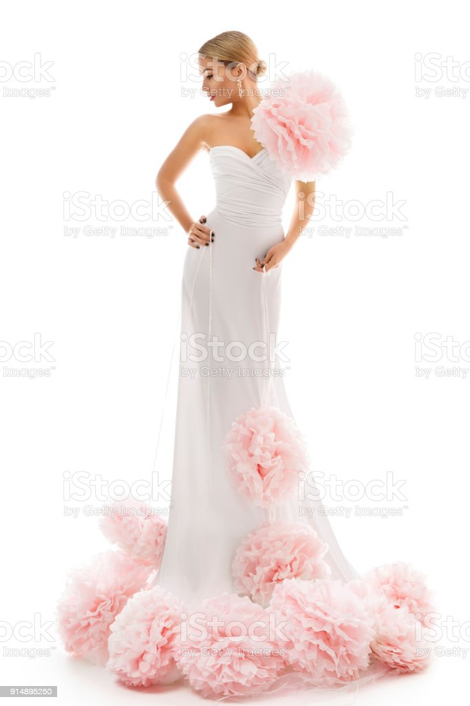 Fashion Model Long Dress with Art Flowers, Elegant Woman Beauty Gown, Lady on White stock photo