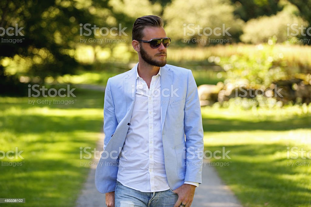Fashion Model on a path stock photo