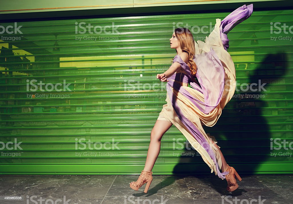 fashion model on catwalk stock photo
