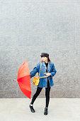 Fashion Model playing umbrella
