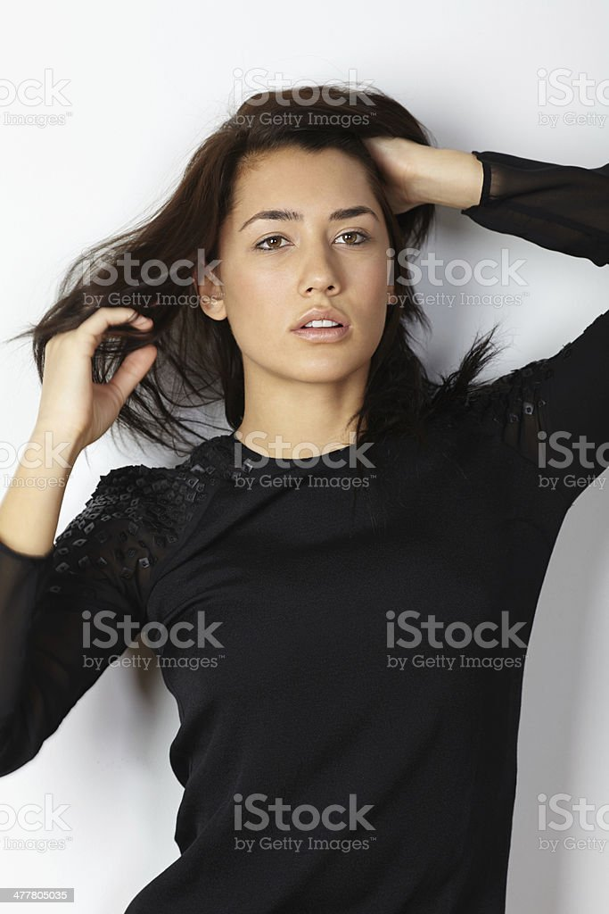 Fashion model portrait hands in hair royalty-free stock photo
