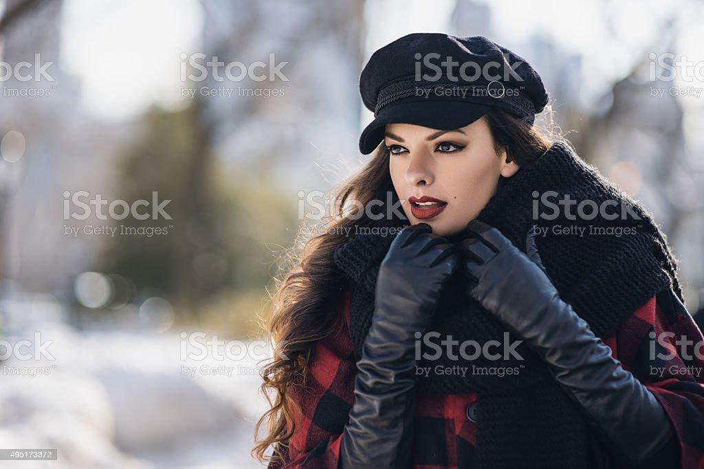 Fashion model posing in Central Park, New York stock photo