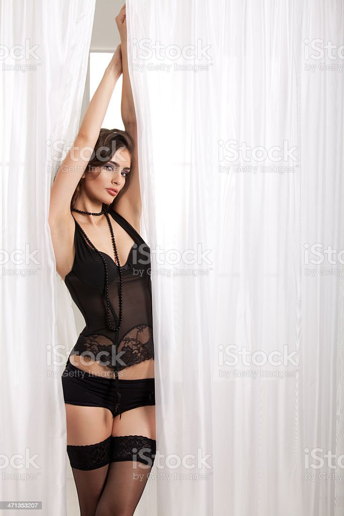 Fashion model posing in lingerie stock photo