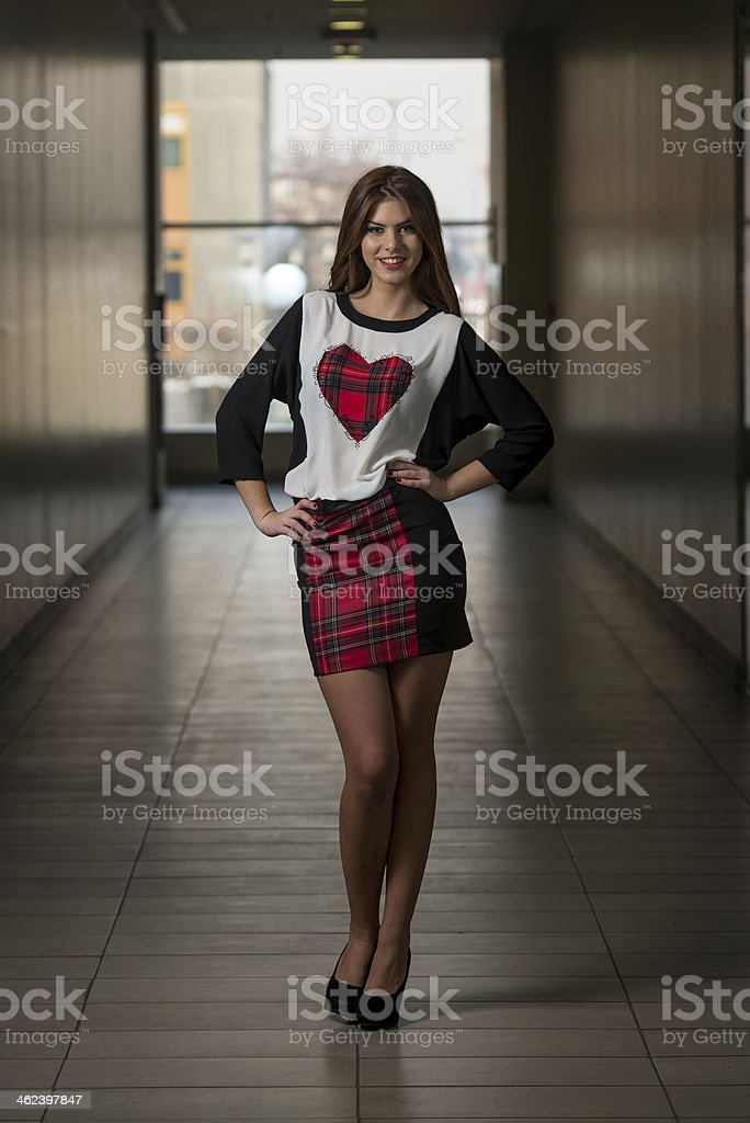 Fashion Model Wearing A Dress And Heart T-shirt royalty-free stock photo