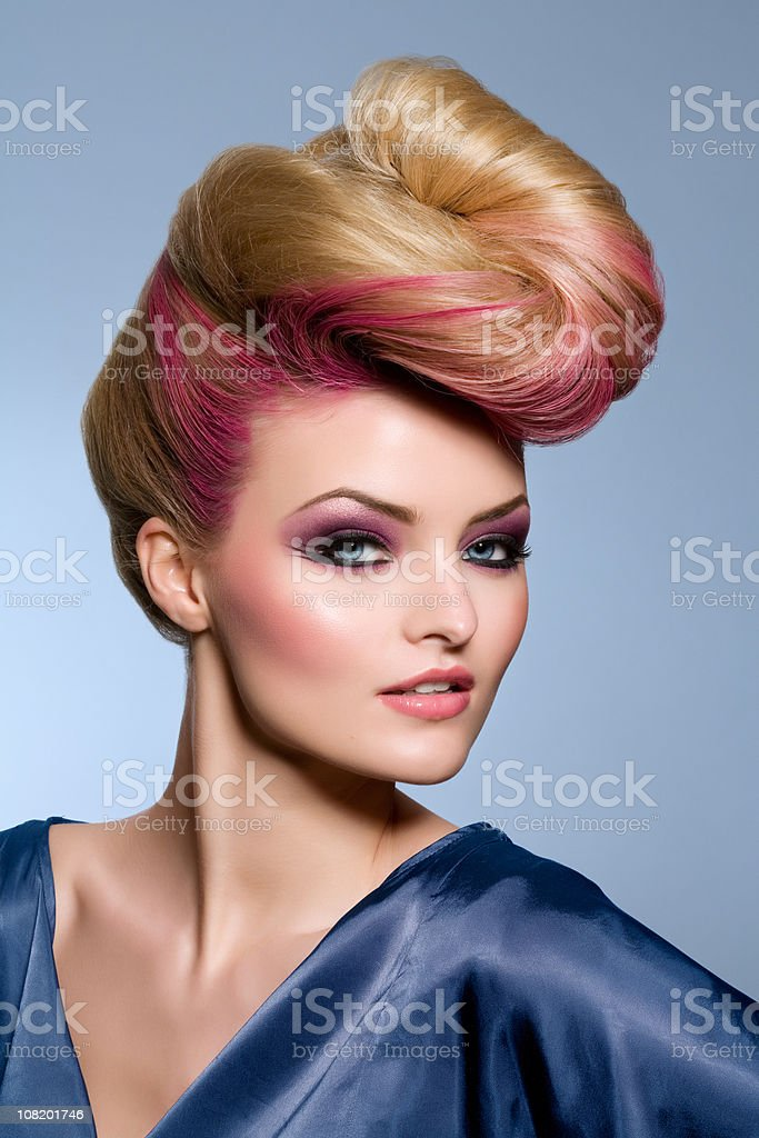 Fashion Model Wearing Blue Silk Dress royalty-free stock photo