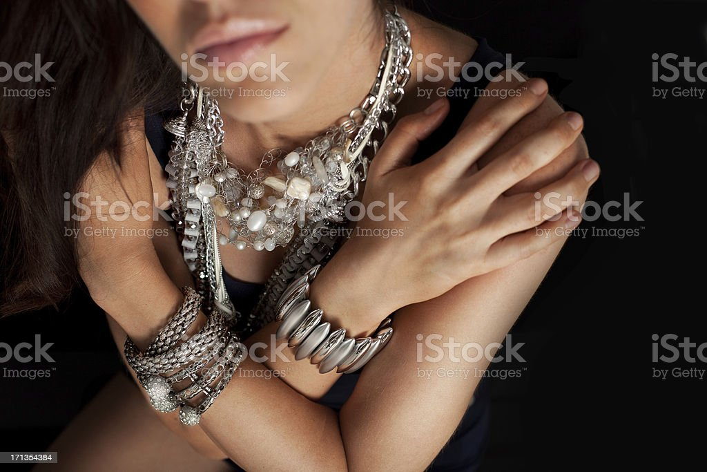 Fashion model wearing different accessories royalty-free stock photo