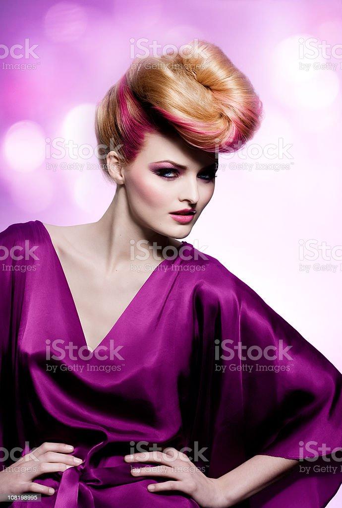 Fashion Model Wearing Purple Dress  Adult Stock Photo