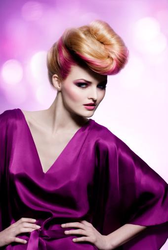 Fashion Model Wearing Purple Dress Stock Photo - Download Image Now