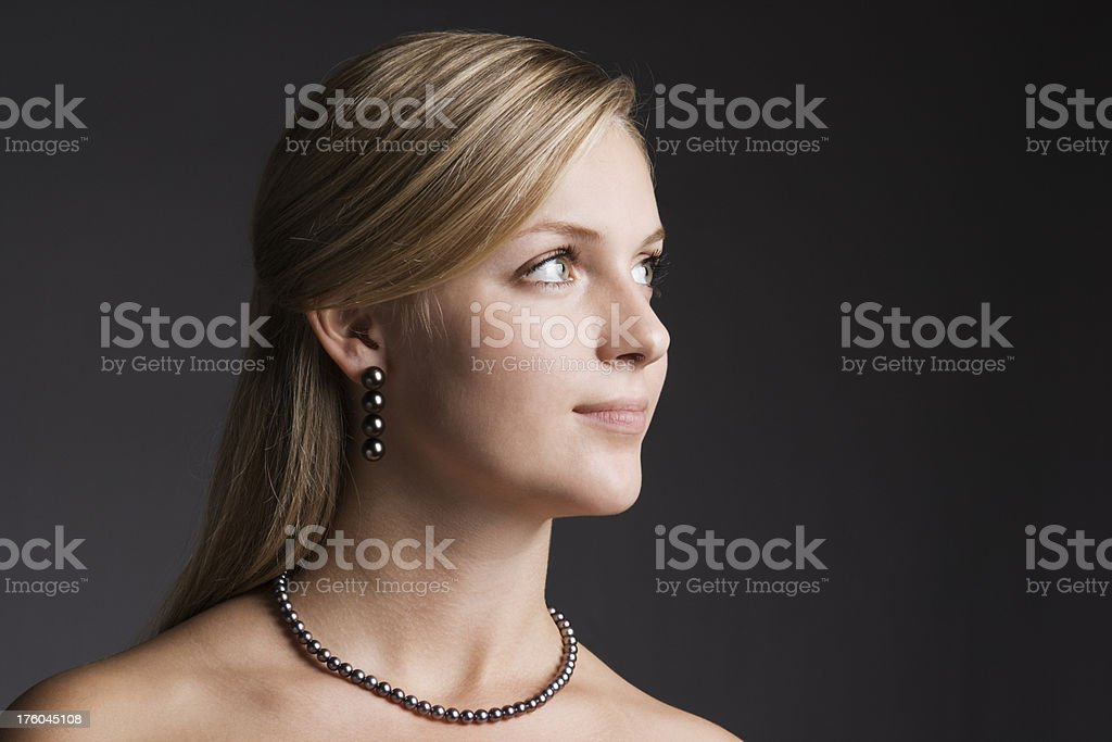 Fashion Model with Black Pearl Jewelry royalty-free stock photo