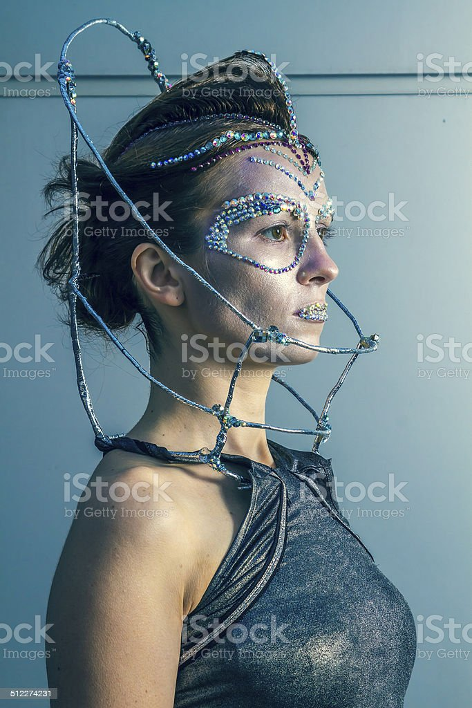Fashion Model With Futuristic Hairstyle And Makeup Stock Photo Download Image Now Istock