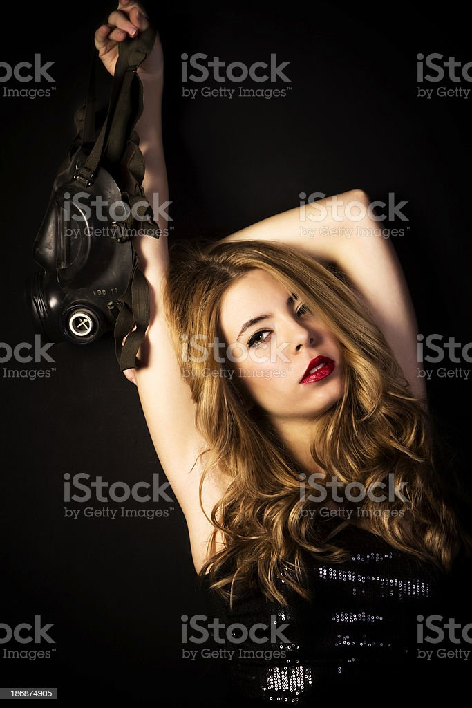 Fashion model with gas mask royalty-free stock photo