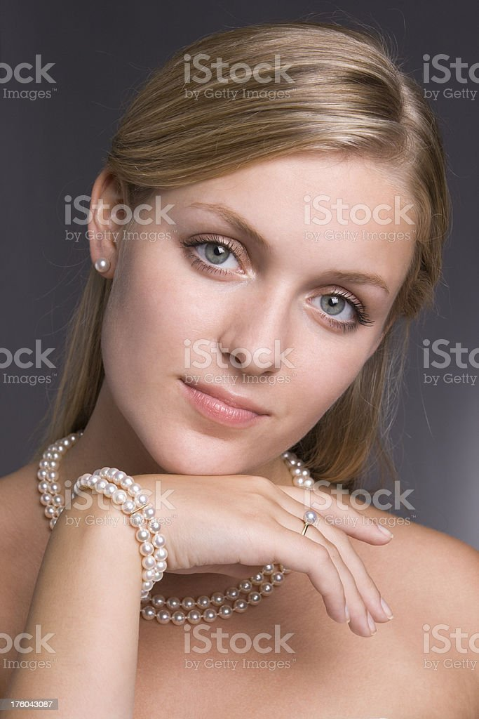 Fashion Model with Pearl Jewelry royalty-free stock photo