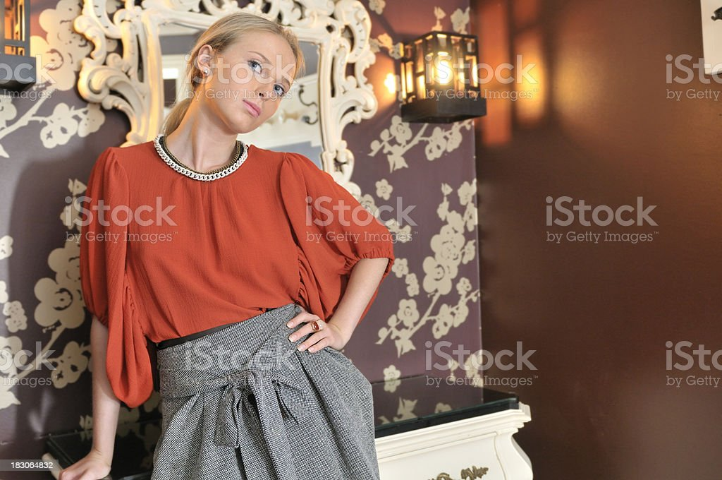 e4c92cb266 Fashion Model With Red Top And Grey Skirt Stock Photo & More ...
