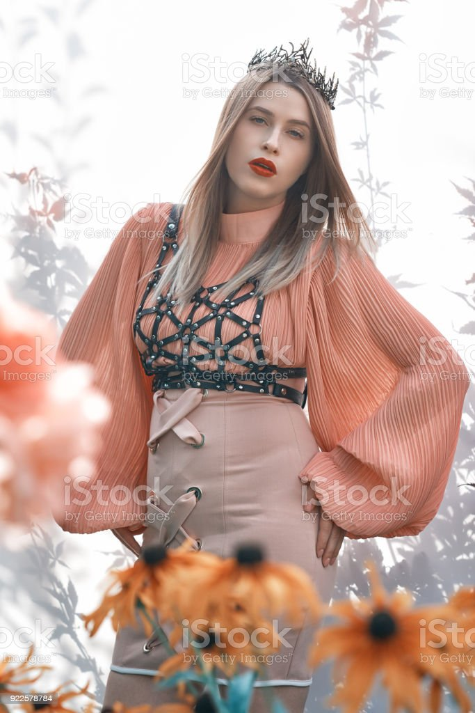 fashion model with thorn crown stock photo