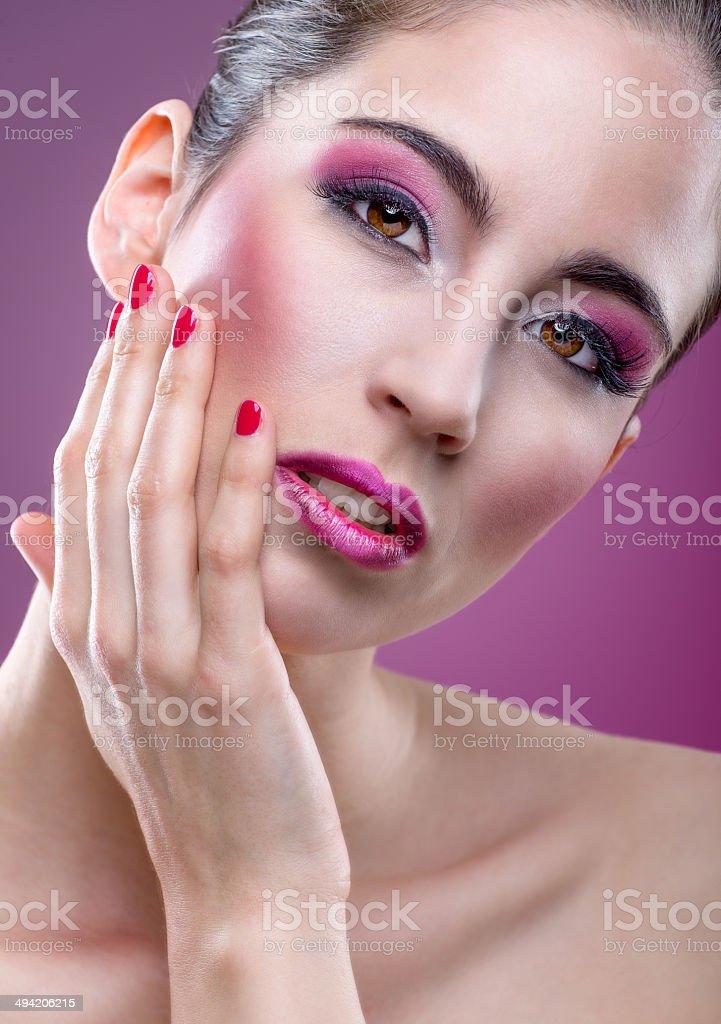 Fashion modell with beautiful pink makeup stock photo