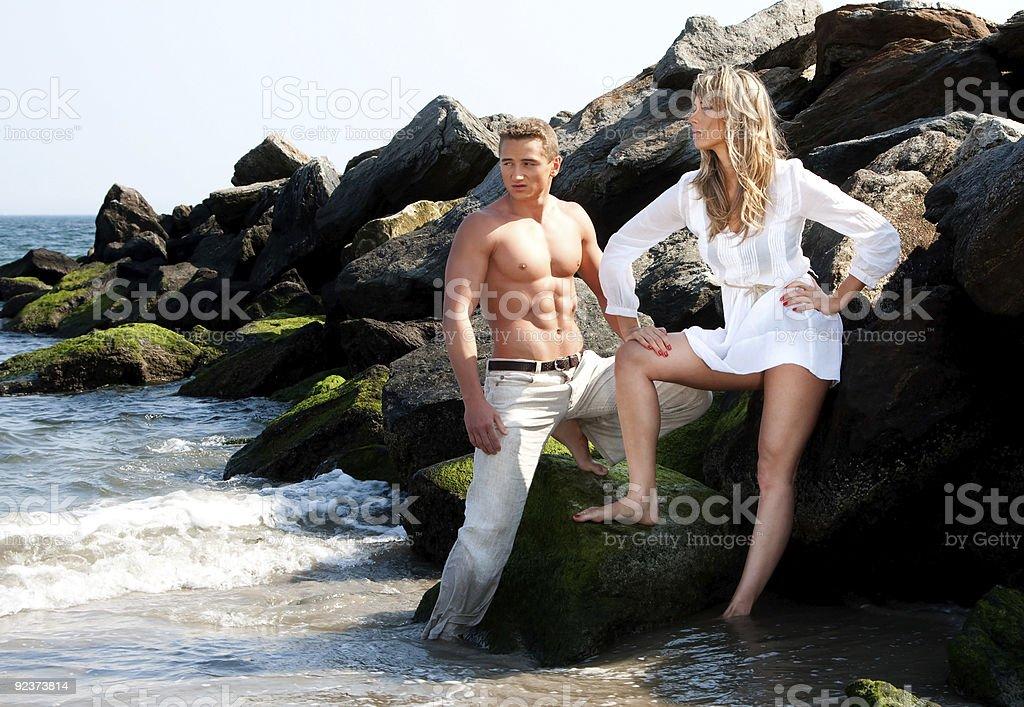 Fashion models at beach royalty-free stock photo