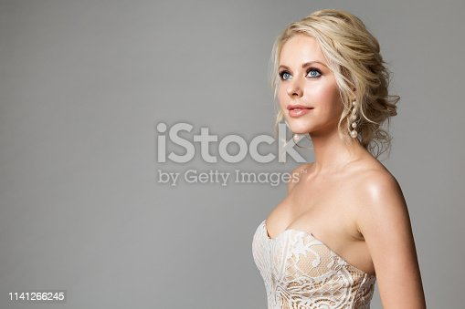 Fashion Models Beauty Portrait, Beautiful Woman Makeup and Hairstyle, Bride studio shot on gray background