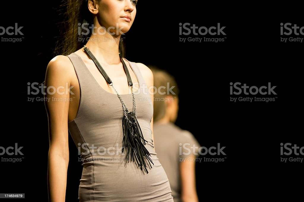 Fashion models on catwalk stock photo