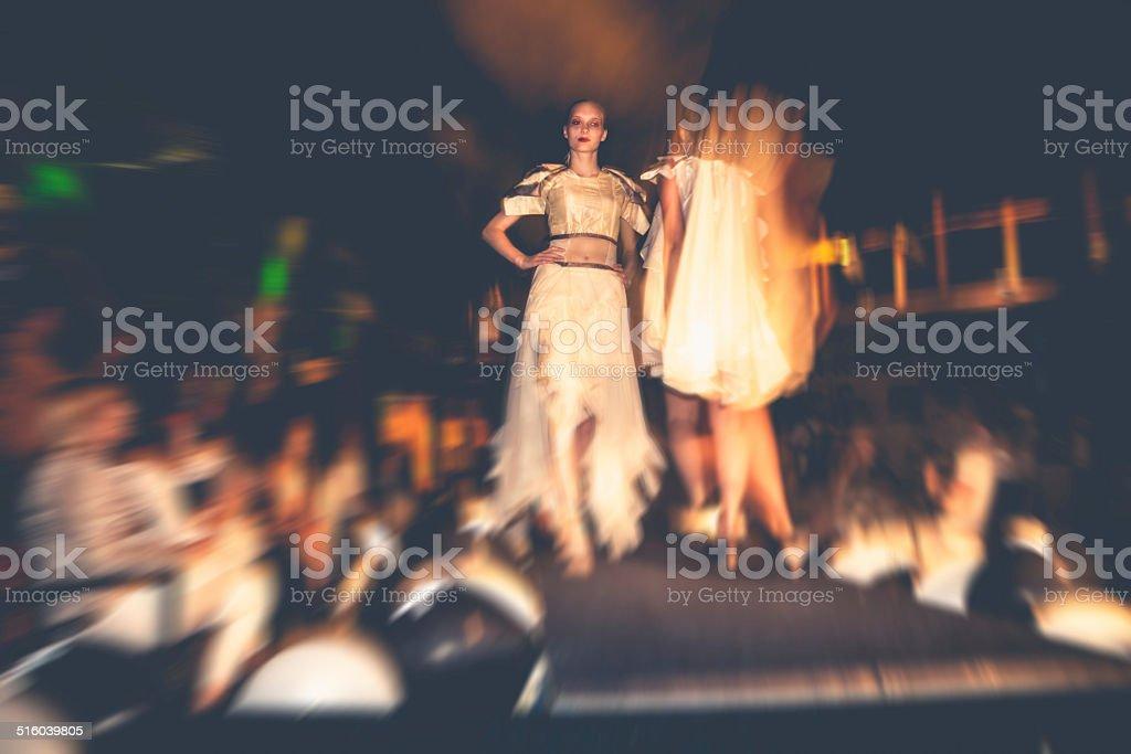 Fashion models on runaway stock photo