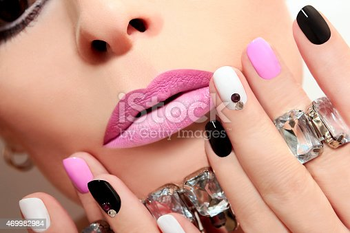 istock Fashion nails with rhinestones. 469982984
