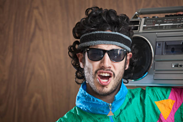 fashion of the 1980's & 90's with boombox - 1980s style stock photos and pictures