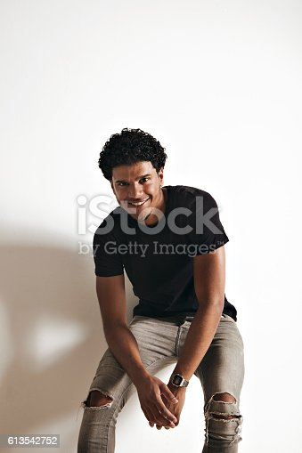 istock Fashion photo of a handsome man in black t-shirt 613542752